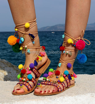 fa3adac1053 Wholesale Tie Up Gladiator Pom Poms Sandals - Buy Pom Poms  Sandals,Gladiator Sandals Product on Alibaba.com