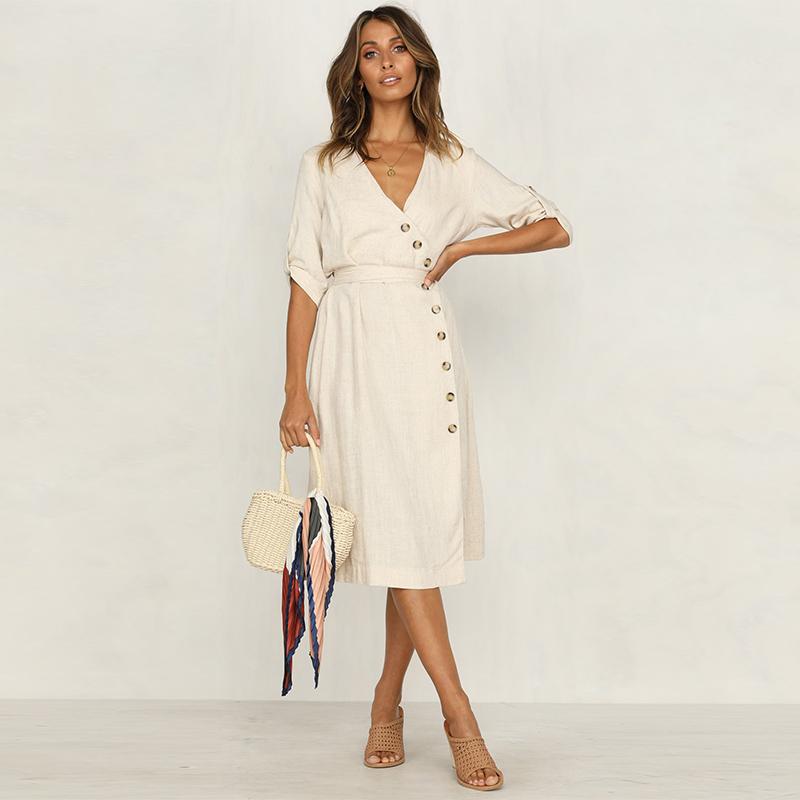 Produsen Pakaian Cina Wanita Linen V Leher Tombol Midi Gaun Wrap