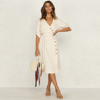 Chinese Clothing Manufacturers Women Linen V Neck Button Midi Wrap Dress