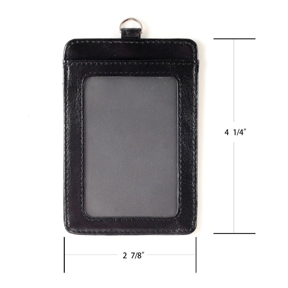 Deux Côtés Vertical Pu Cuir Id Porte Badge Avec Id Fenêtre Et - Porte badge cuir