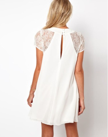 2015 New Summer Women's Dress Ladies Short Sleeve Stitching chiffon Dresses Sexy Lace Dress ZMXWDR07