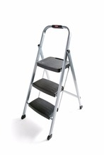 RM-3W Folding 3-Step Steel Frame Stool with Hand Grip and Plastic Steps, 200-Pound Capacity, Silver Finish little giant ladder