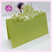 High quality Eco-friendly free logo laser cut wedding favor unique pattern table place card ZK-79/ZK-82