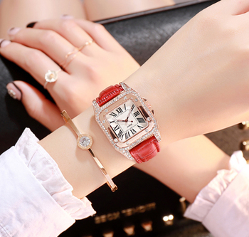 Hot sale Genuine Leather Strap Luxury Brand Personality Women Diamond Watches Ladies bracelet watch drop shipping