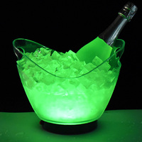 top-grade led light wine ice bucket champagne plastic cooler