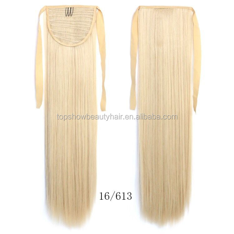 Hot selling high quality hair pieces long straight ombre white women human hair ponytail
