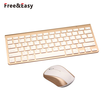 Gold Color Cordless Keyboard Mouse Wireless Mini Teclado
