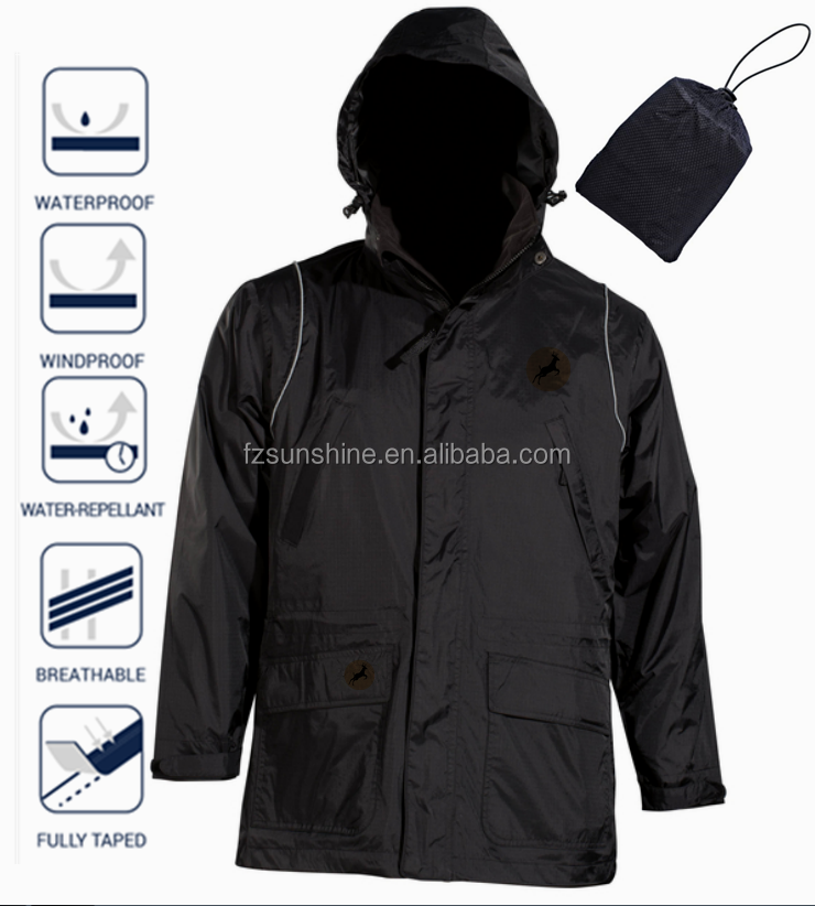 Polyester Waterproof Foldable Rain Jacket With Bag And Reflective ...
