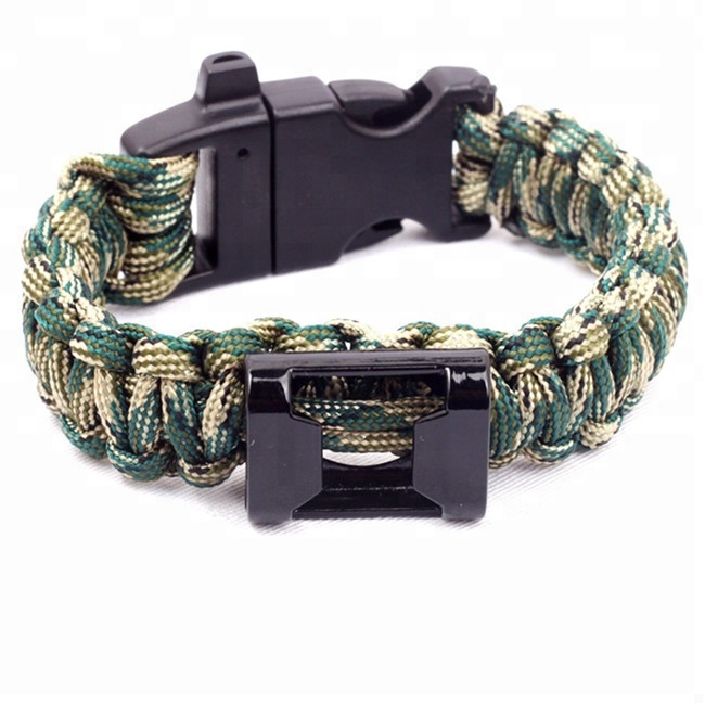 2018 fashion outdoor 550 paracord survival armband whistle, kompas en flesopener