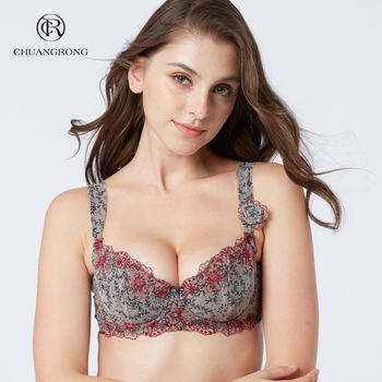 Full cup thin printed flower cheap ladies genie cotton bra with underwire