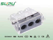 Push wire Connector Quick connect terminal block for Junction Boxes3 Poles