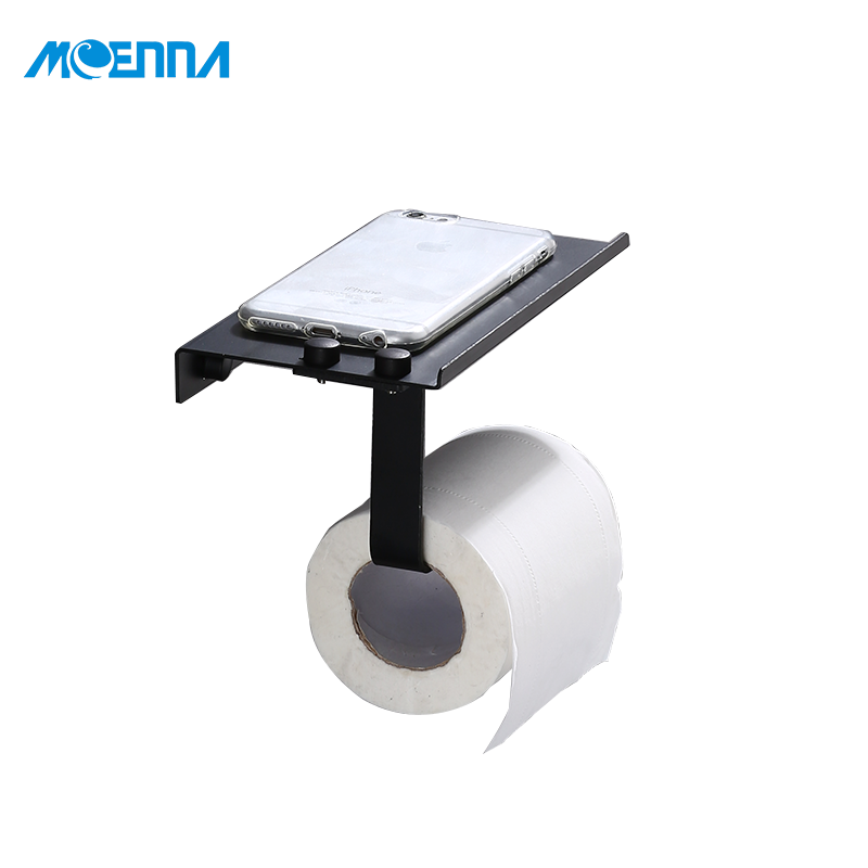 New Design Bathroom Accessory Wall Mounted Stainless Steel Black Plated Tissue Holder Mobile Phone Toilet Paper Towel Holder