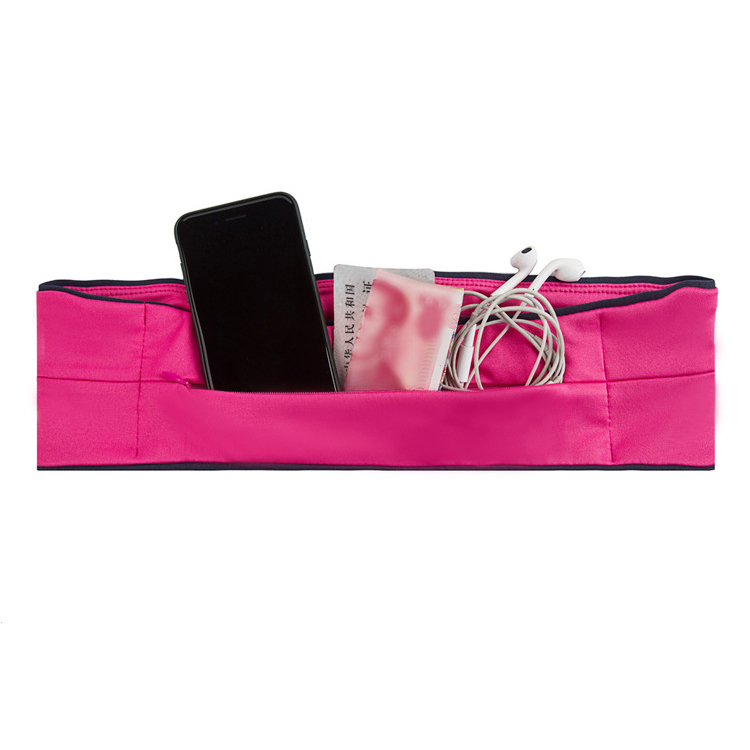 Invisible large capacity running flip waist belt fits for phone, card, keys w/ 3 pockets