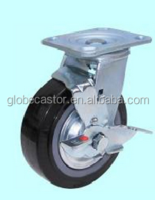 200mm heavy duty black pu caster ,swiveling caster wheels with brake/moving caster