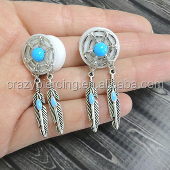 Dream Catcher Saddle 0g Ear Gauge With Turquoise Stone Feathers Body Piercing Jewelry