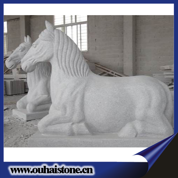 2017 Newest large size statues vivid granite stone material white horse sculpture