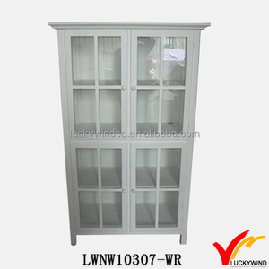 French Provincial Wood Rustic Bookcase with Glass Doors