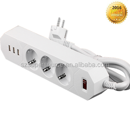 Alibaba hot sell 2016 switch socket power plug socket with 3 way 3 usb adaptor