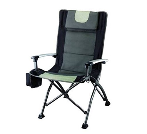 Ozark Trail High Back Chair, Black, Ultra Durable Steel Frame, Adjustable Feet, With Cup Holder, Perfect Seat for Outdoor, Camping and Picnic