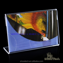 table top L shape acrylic sign holder clear card display rack greeting card display