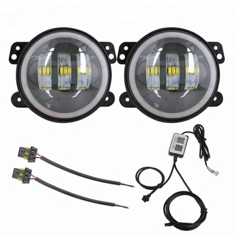 60W Auto Driving Offroad Halo Ring LED Fog Lamp Bluetooth RGB CREE LED Fog Light for Jeep