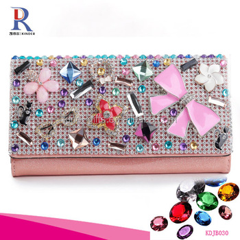 pink color diamond leather material lady use japan style wallet