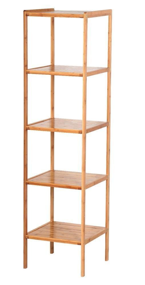 Get Quotations · Bathroom Shelf Corner Storage Organizer Bamboo Wood Tower  Rack (5 Tier)