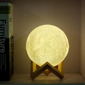 24cm Moon Shaped Rechargeable Touch Sensor Dimmable Night Light USB LED 3D Printing Moon Lamp