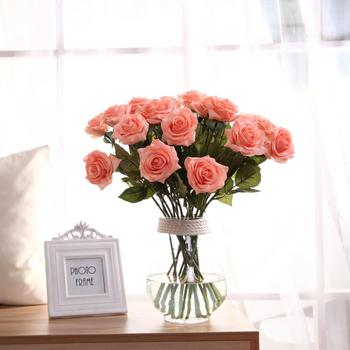 wholesale red rose wedding room scene layout  Valentine's Day gift plastic realistic flower for festival home decoration