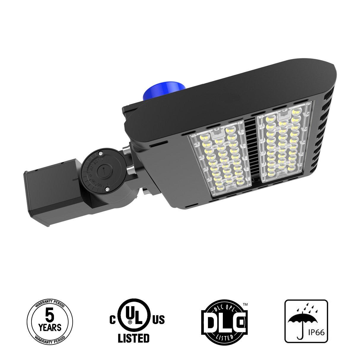 LED Parking Lot Light, 100W Street Area Light Lumileds SMD 3030 LED 130 Lm/W Daylight 5700K Bright White Light with Photocell Sensor&Shorting Circuit Cap, 3-Type Mounts Adiding IP66 UL DLC Listed