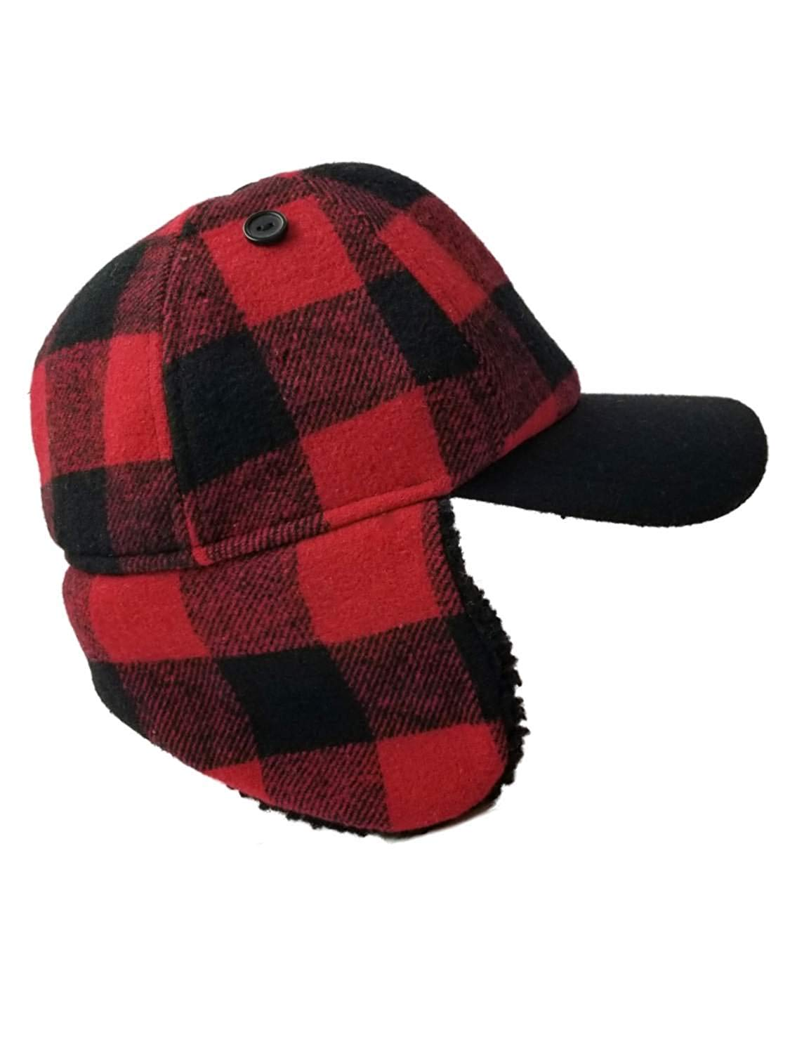 7ef5f0b75ca Get Quotations · Men s UP Red Plaid Hunter Trapper Beanie Stocking Cap Hat