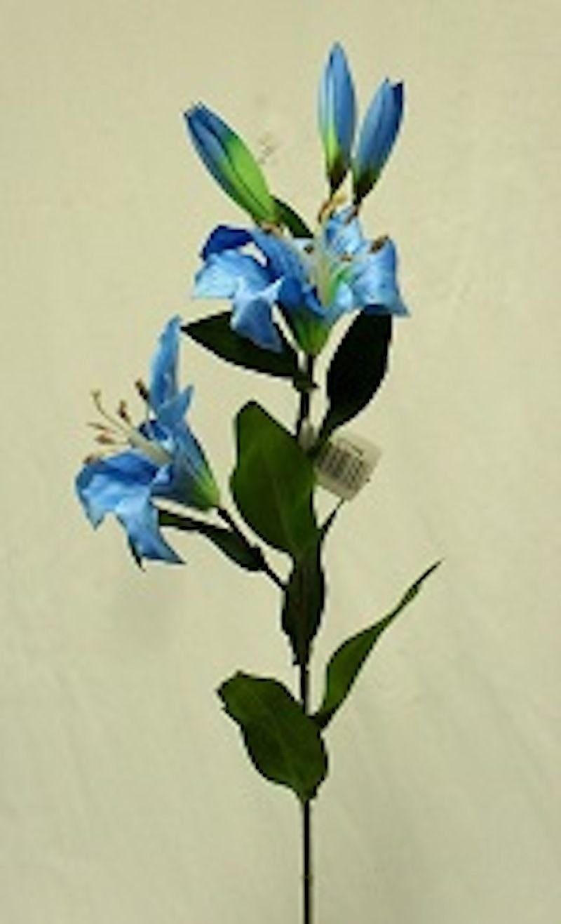 1 Bouquet Artificial Flowers Turquoise Blue Tiger Lily Spray Silk Flowers Wedding Centerpieces Arrangements Artificial Plant Fake Craft Floral Home Decor 28 inches