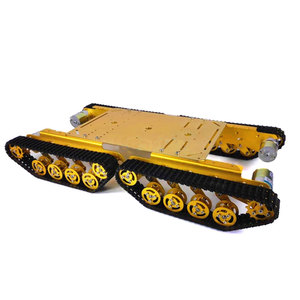 Intelligent Car 4 Driver 37 Motor Robot Gold Silver 150rpm TS500 Tracked Shock Absorption Tank Plastic Chassis