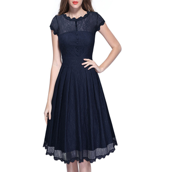Womens Retro Floral Black Lace A-Line Dress Vintage Cap Sleeve 1940s 50s Style Pin up Rockabilly Swing Wedding Party Dresses