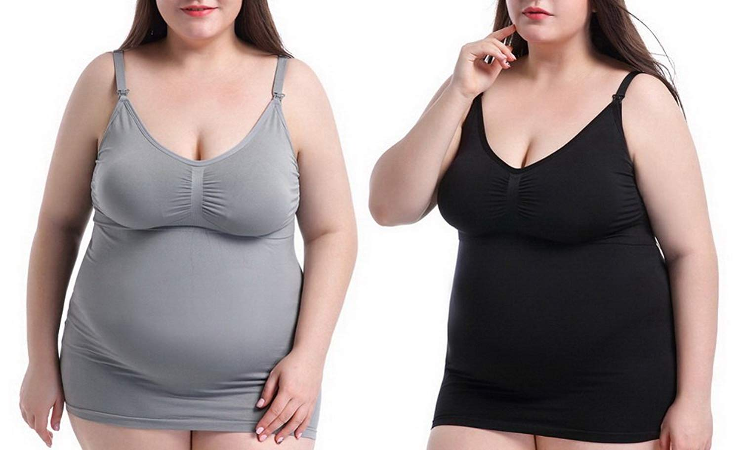07f6c734c7f Get Quotations · Foucome 2 Pack Plus Size Seamless Nursing Bra with  Removable Pads Cami Tank Top with Clasp