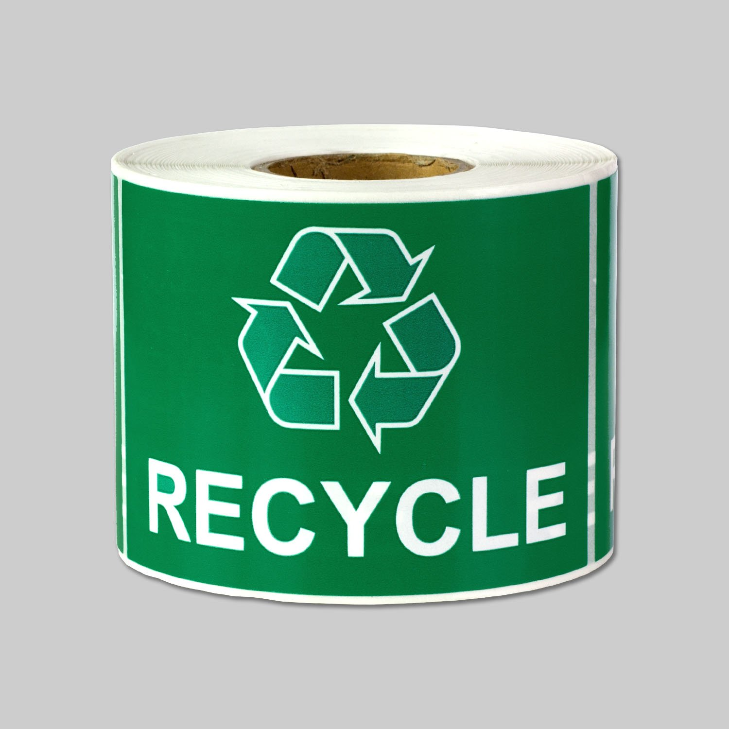 "Tuco Deals 3"" x 2"" Inch Large Green Backgound / Black Text Disposal and Trash Labels Square Self Adhesive Stickers / Labels - ""Recycle"""