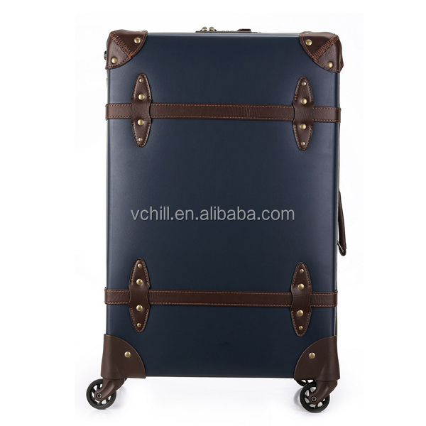 Old Fashion Navy blue vintage suitcase trolley luggage