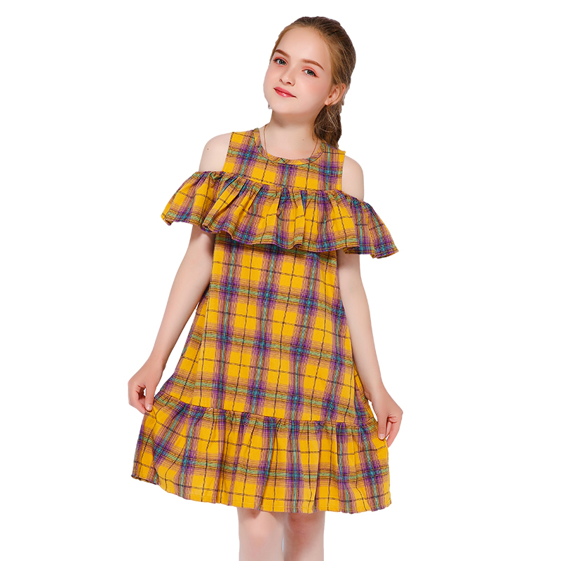 Wholesale OEM Customized 100% Cotton Off Shoulder Girl Plaid Dress For School Beach Party фото
