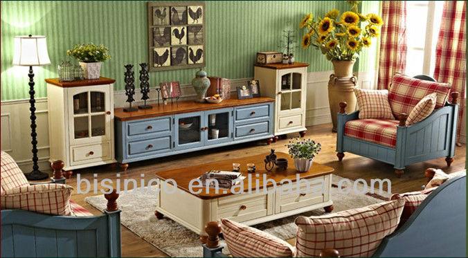 Bisini salon ensemble anglais pays american style salon Meuble tv style anglais