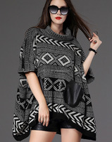 poncho women knit sweater wholesale cardigan ladies poncho with leather