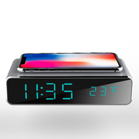 lcd screen portable wireless charger with alarm clock