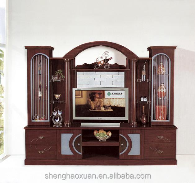 latest design vintage wooden wall unit furniture wordrobe 801# wall unit  design