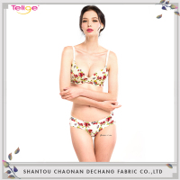 Customized resist sexy print women floral bra with matching panty set