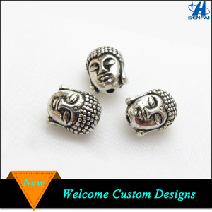 Best Selling Products 3D Antique Silver Antique Copper Buddha Head Beads