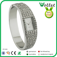 fashion stainless steel custom watch inserted rhinestone jewelry