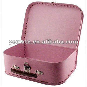 Pink Color Printing Cardboard Suitcase Gift Box For Jewelry Paper Drawer