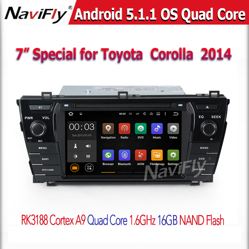 Double din <strong>car</strong> gps navigation system for <strong>Toyota</strong> COROLLA 2014 with android quad core <strong>car</strong> dvd player