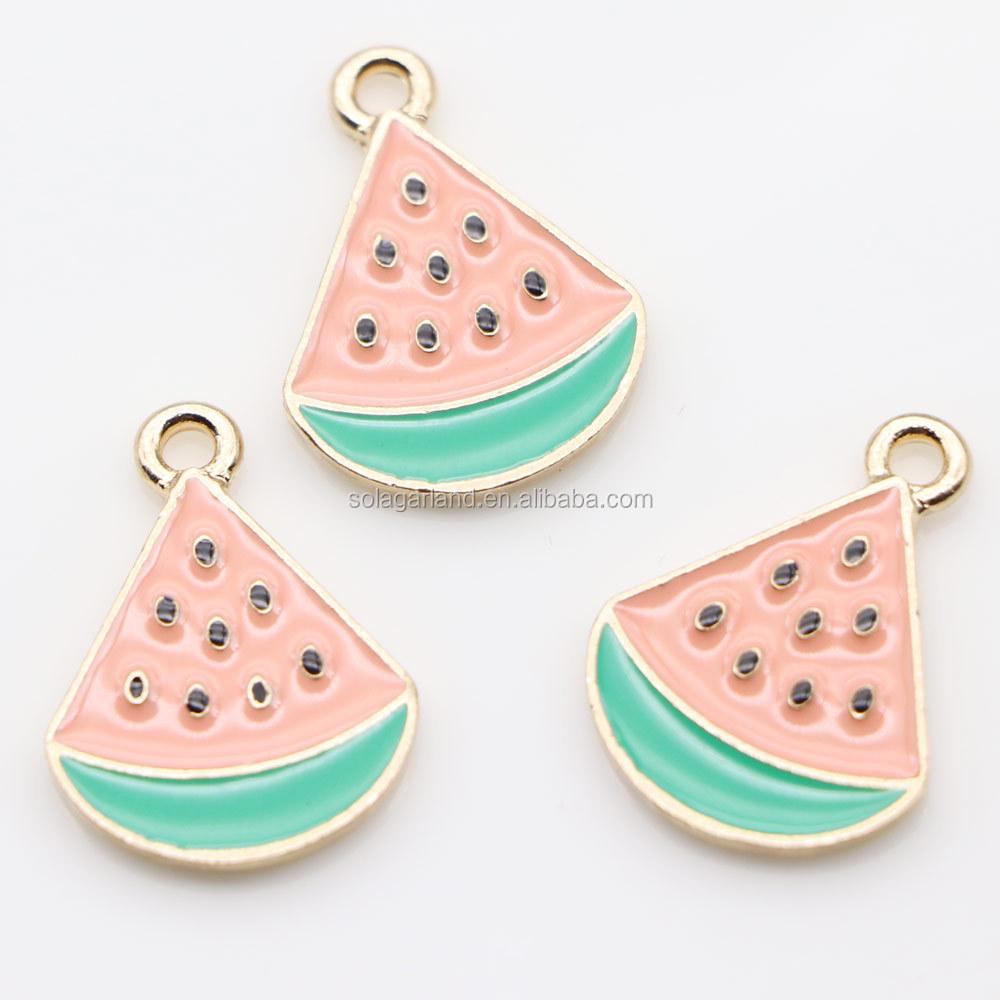 Hot Sale Enamel Watermelon Fruit Charm Zinc Alloy Choker Pendant For Necklaces Bracelets DIY