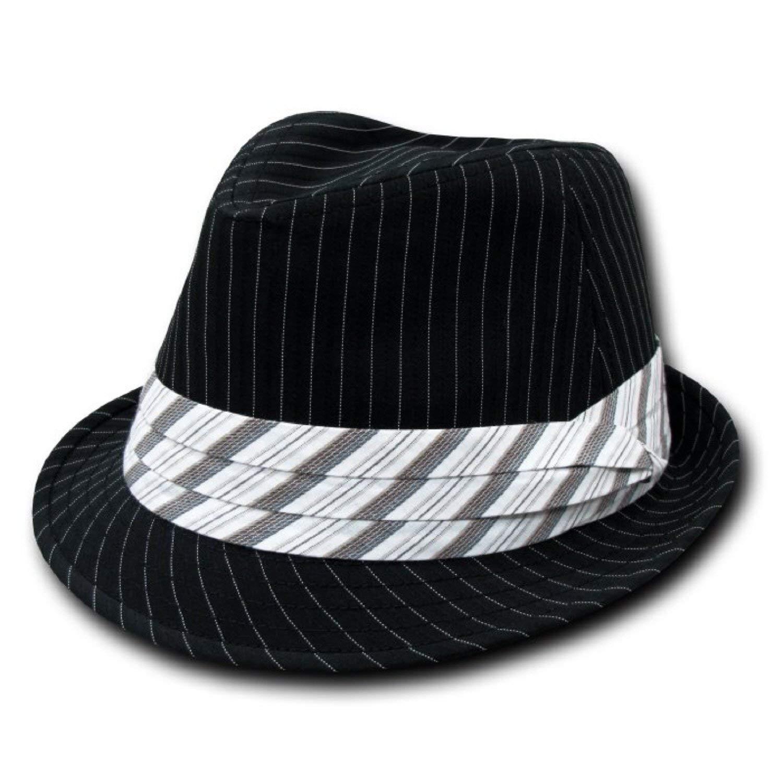 b3273815dca1a Get Quotations · Decky Single Pinstripe Fedora Hat - Black
