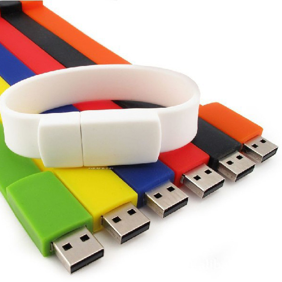 Fashion Portable Bulk Cheap Silicon 8GB USB Flash Drives 4GB Silicon USB Bracelet/Wristband USB Gift